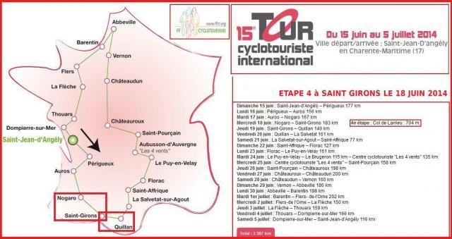 000 Tour cyclo 2014 parcours