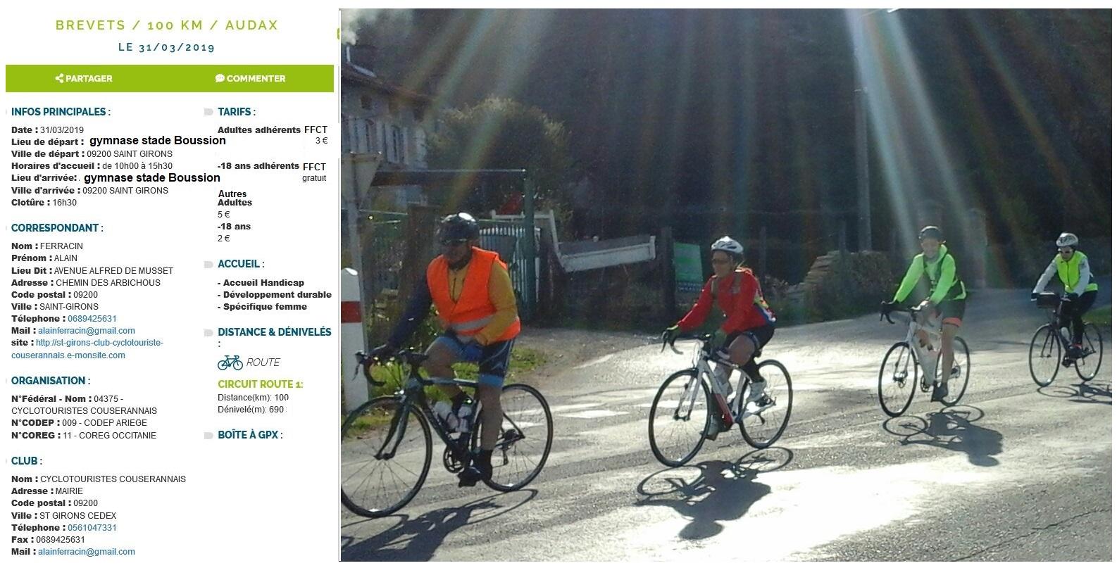 La fiche de l'organisation par ST Girons cyclotourisme